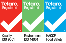 Telarc Registered. Quality ISO 9001, Environment ISO 14001, HACCP Food Safety